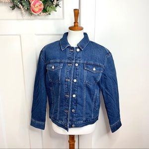 Madewell Boxy Crop Flannel Quilted Denim Jacket